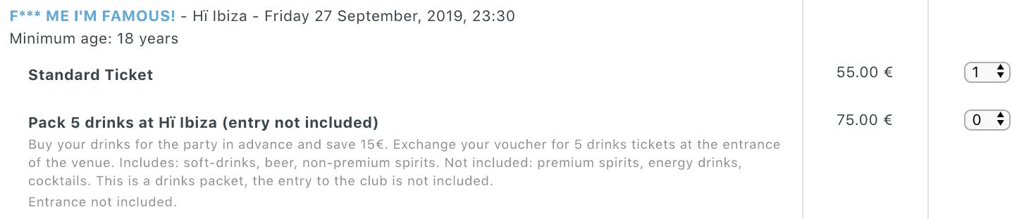 Ibiza Spotlight Drinks Packages