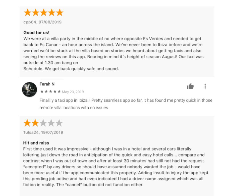 Ibiza Taxi App Reviews